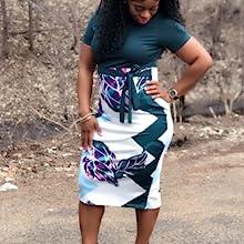 Amazon.com: Vestido de mujer con estampado floral y cinturón ...