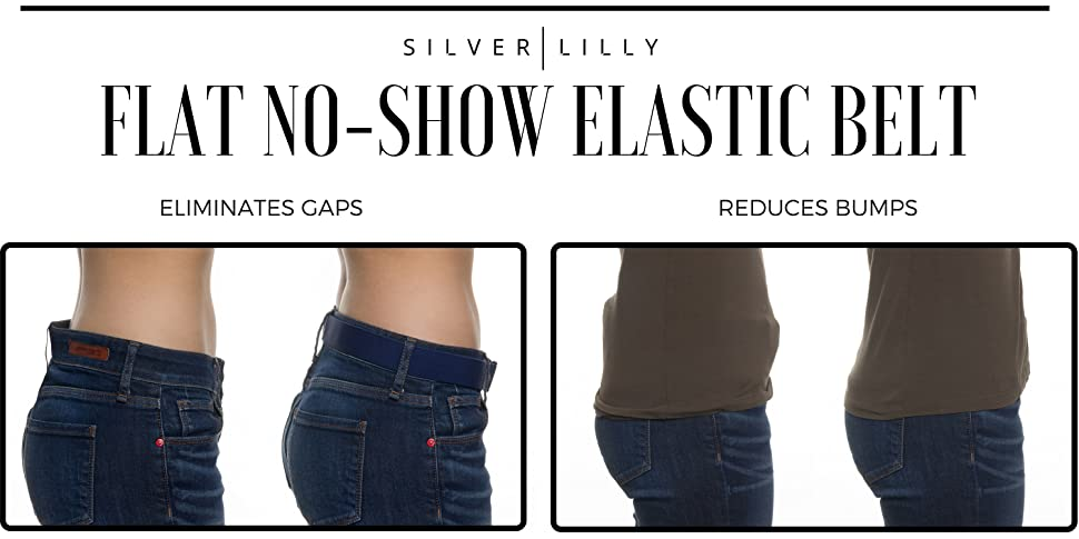 be7810c66bb21 Make pesky waistband gaps and unsightly belt bulges a thing of the past,  with the Adjustable Elastic No Show Belt by Silver Lilly!