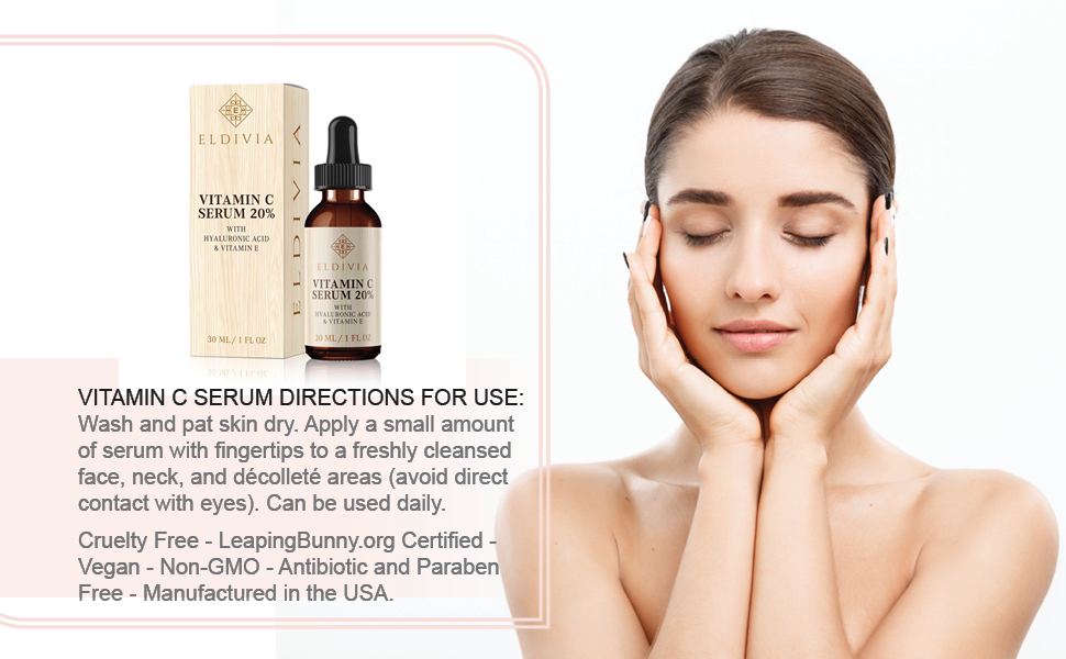 Vitamin C Serum for Face with Hyaluronic Acid and Vitamin E - 20% Potency -  Best Anti Aging Facial Serum