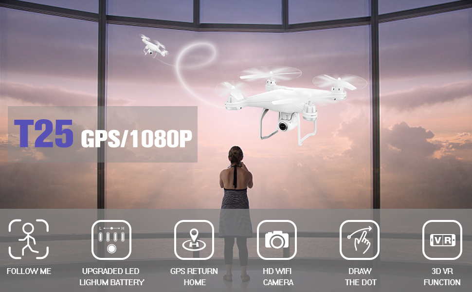 Potensic T25 drone is an intelligent RC drone, equipped with an advanced GPS system