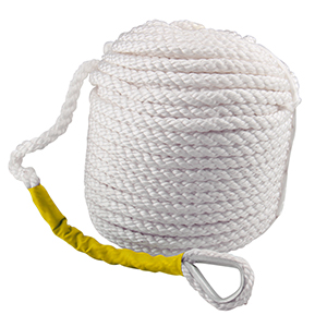 with Thimble and Heavy Duty 5850LB Breaking Strain B4B BANG 4 BUCK 3//8 Inch 300 Feet Three White Braided Anchor Rope Polypropylene Docking Line for Boat Pulling Mooring and Towing