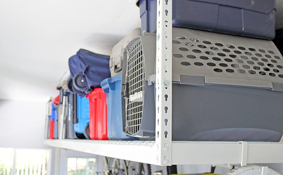 saferacks, fleximount, newage, overhead, garage, storage, rack