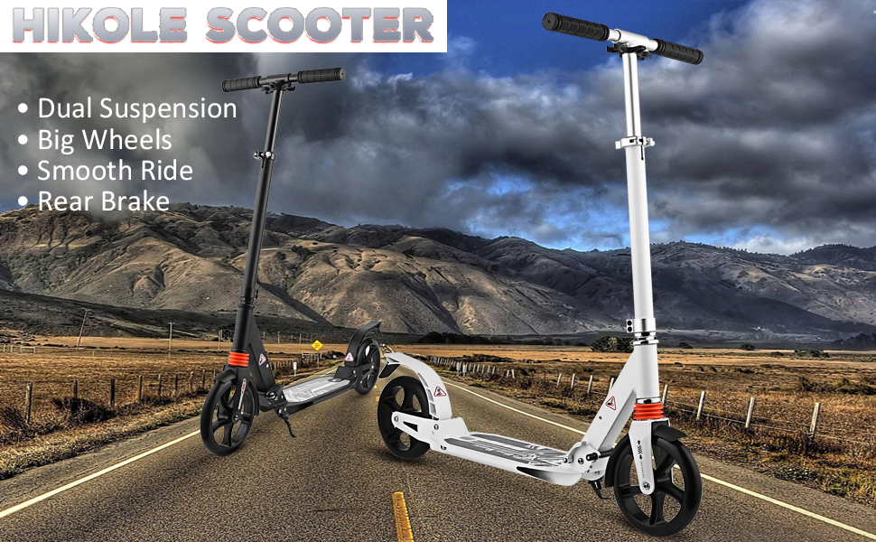 Hikole Scooter for Adults Teens | Adjustable Foldable + Dual Suspension + Shoulder Strap + 8 inches Big Wheels + Rear Fender Brake, Aluminium Alloy ...