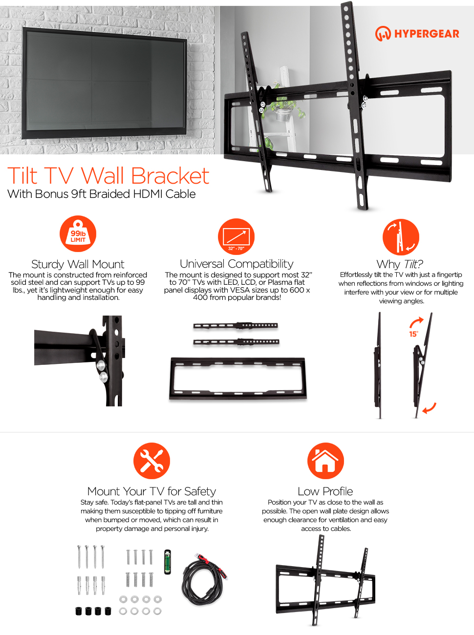Amazon Com Hyper Gear Tv Wall Mount With Hdmi Cable Cell Phones Amp Accessories