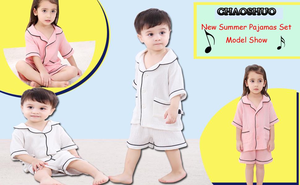 CHAOSHUO Toddler Girls Pajamas Set Pink Unisex Sleepwear 2T-9T 2Pcs