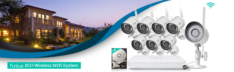 Funlux 8 Channel 1080p HDMI NVR 8 720p HD Indoor Outdoor Wireless Home Security Camera System 1TB Hard Drive