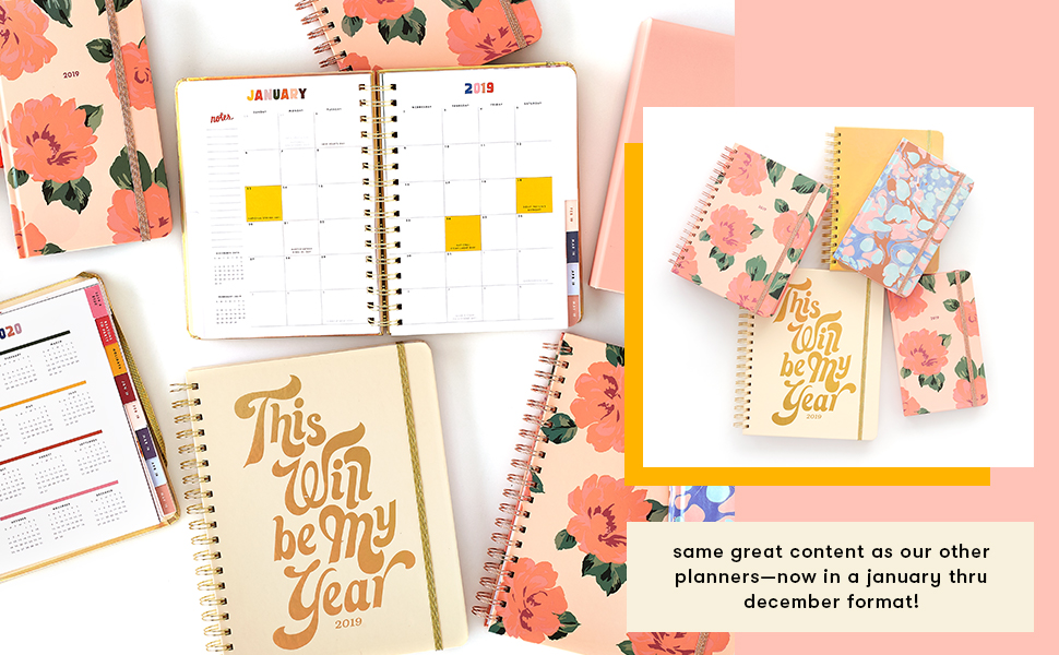 Ban.do Large 2019 12-Month Annual Hardcover Planner with Daily, Weekly, Monthly Spreads for January 2019 – Dec 2019, 10