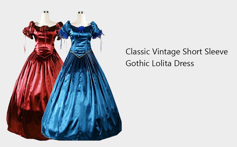 Amazon.com: Partiss Womens Classic Victorian Gothic Lolita Dress ...