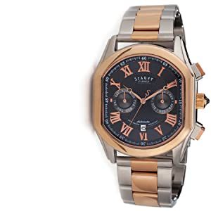 Stauer Mens Versailles Rose-Gold Finished 27 Jewel Automatic Watch with Stainless Steel Bracelet