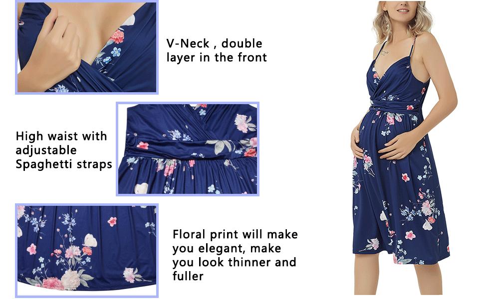 ddb1a6f9bd7 GINKANA Floral Maternity Dress Short Sweetheart Wrap Spaghetti ...