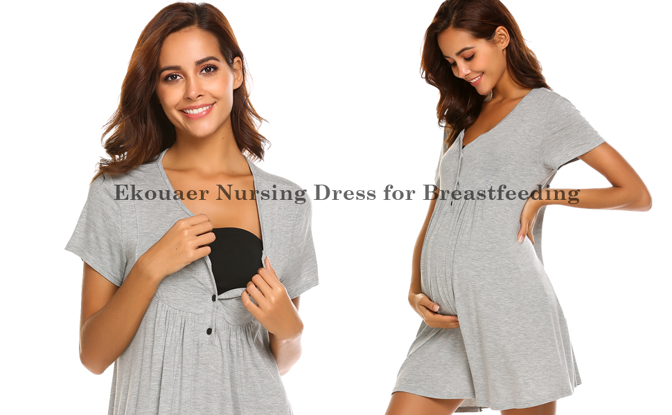 Ekouaer Nursing Dress, Maternity Nightgown Labor Delivery Gowns ...