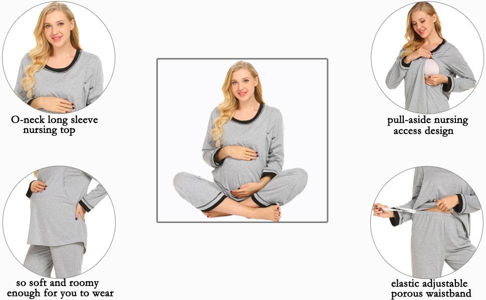 Ekouaer Maternity Nursing Pajamas Set Womens Soft Pregnancy Pjs