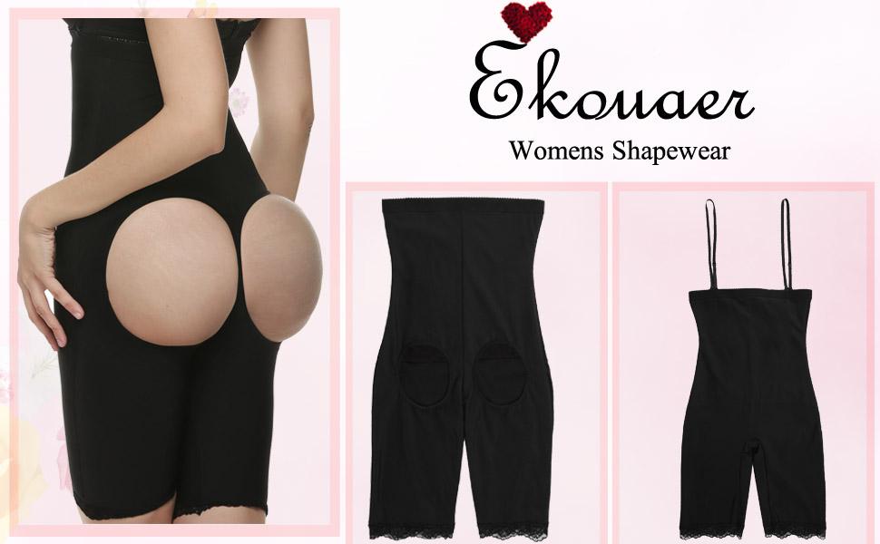 32d73f3c8b Ekouaer Women s Tummy Control Shapewear Butt Lifter   Thigh Slimmer  Underwear