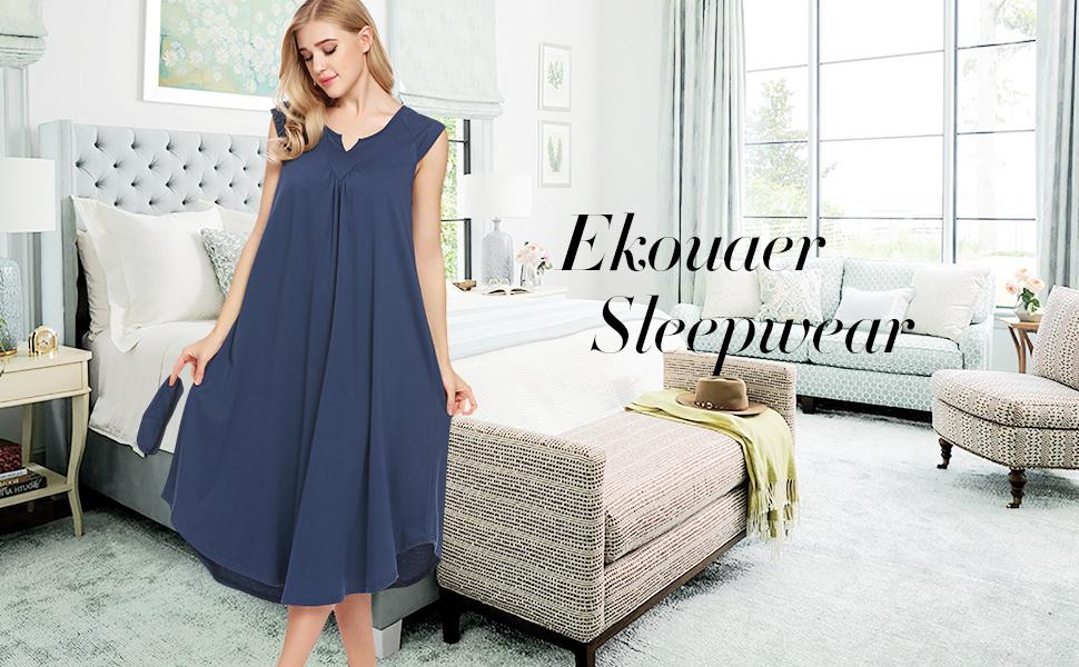 d95f39ee6a87 Ekouaer Sleepwear Cotton v Neck Pajamas Sleeveless Long Nightgowns for Women