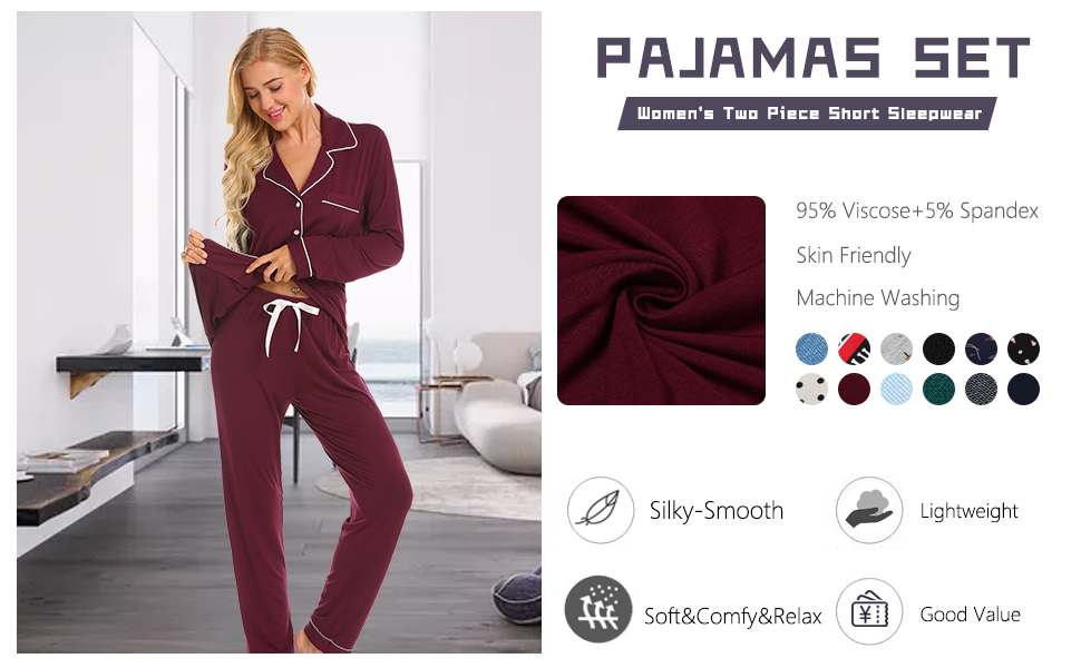 a81845c0773b Amazon.com  Ekouaer Pajamas Set Long Sleeve Sleepwear Womens Button ...