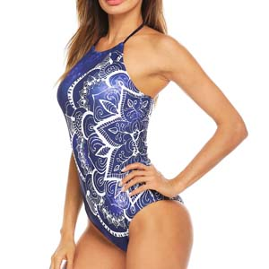 Womens Bathing Suit Halter High Neck Backless One Piece Swimsuit