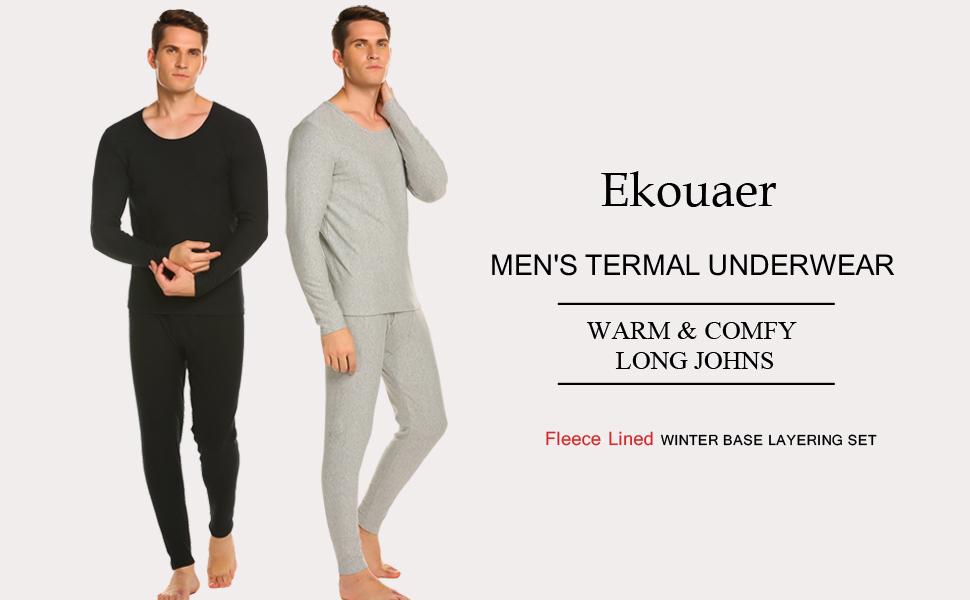 7ef7443ff97a Ekouaer Men's Long Thermal Underwear Fleece Lined Winter Base Layering Set