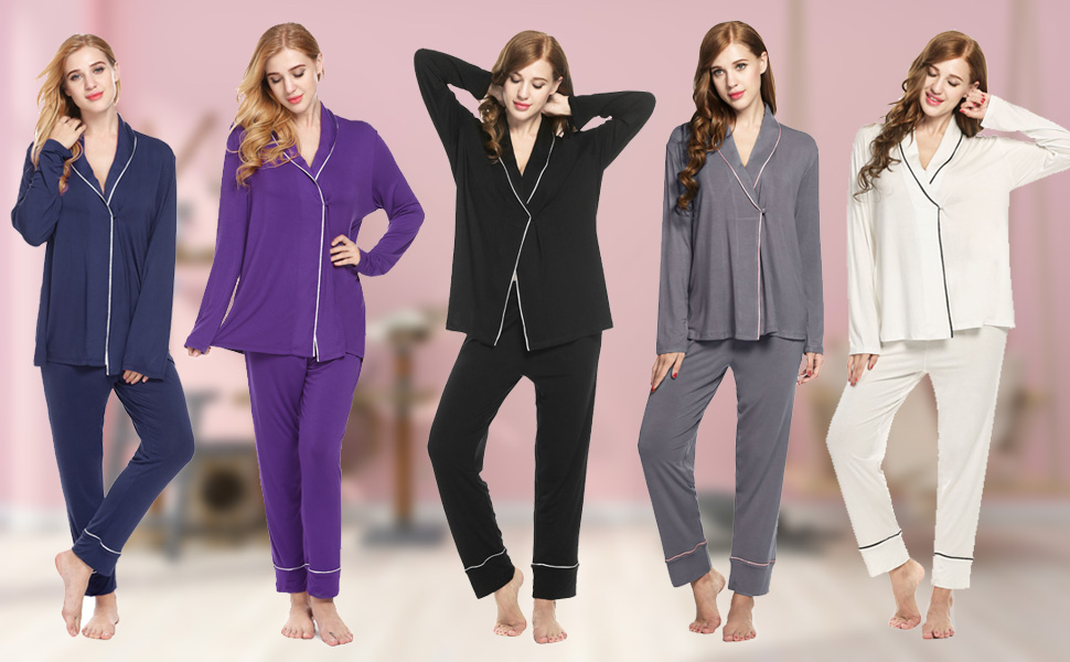12606cf8f0 Ekouaer Pajama Sets Women s Warm Sleepwear Nightgown Long Sleeve Top with PJ  Pants