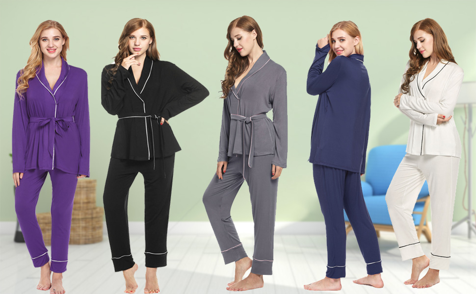 98f2bf3757 Ekouaer Casual Nightgowns for Women Warm Sleepwear Cozy Pajama Set ...