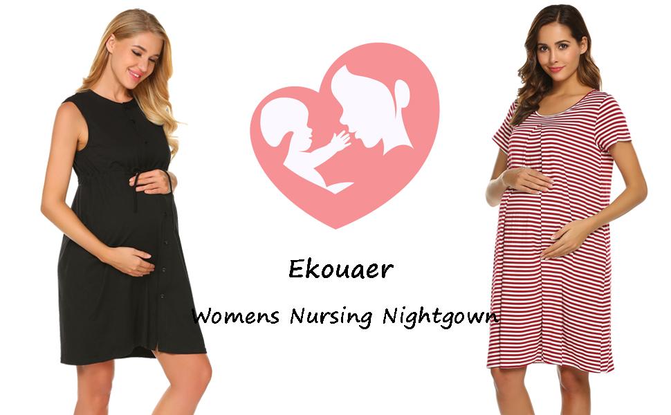 40ee3599b5 Ekouaer Womens Maternity Dress Labor Delivery Nursing Breastfeeding ...