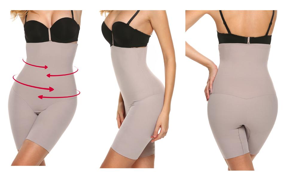 Ekouaer Womens Shapewear Hi-Waist Tummy Control Boyshort/&Thigh Slimmer