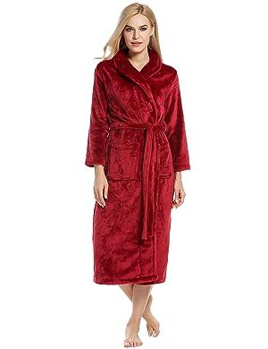 Ekouaer Unisex Fleece Robe Warm Plush Bathrobe Long Pajama for ... 6c00798e8