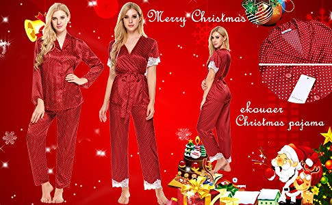 00c93e6698 Ekouaer Christmas Sleepwear Womens Comfy Pajama Button Down Satin Nightgown