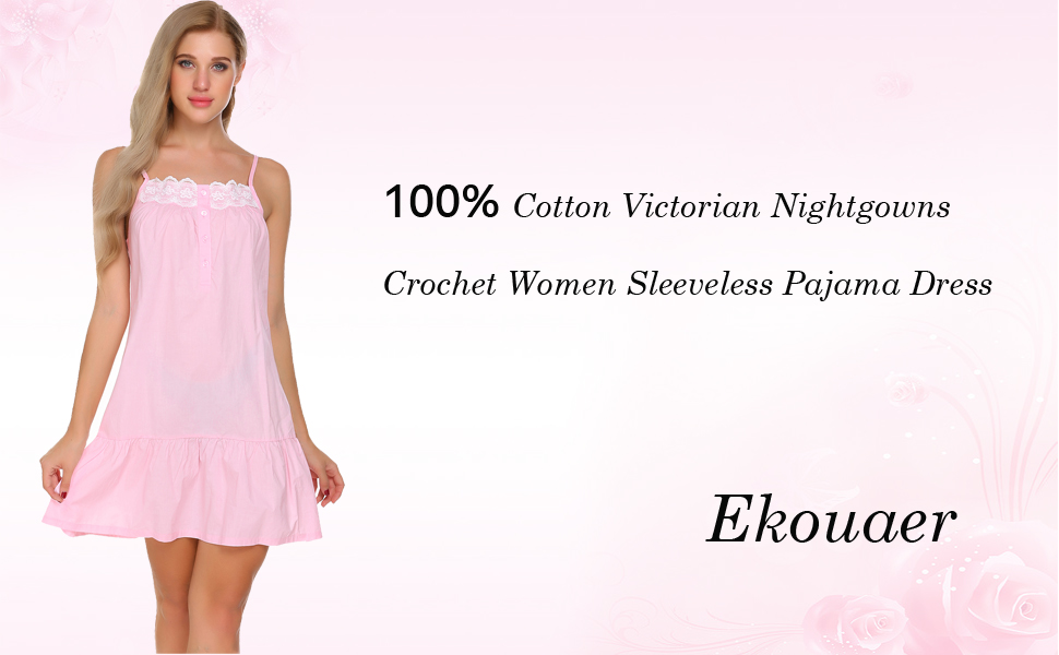 Ekouaer 100% Cotton Victorian Nightgowns Crochet Women Sleeveless ...