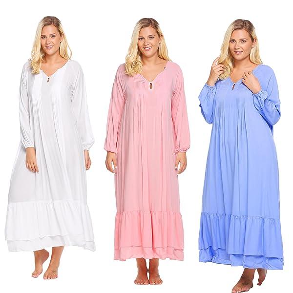 Ekouaer Women s Comfy Victorian Nightgown Medieval Nightgown Women s  loungewear 12W-20W. Size Measurement  27f4eb477