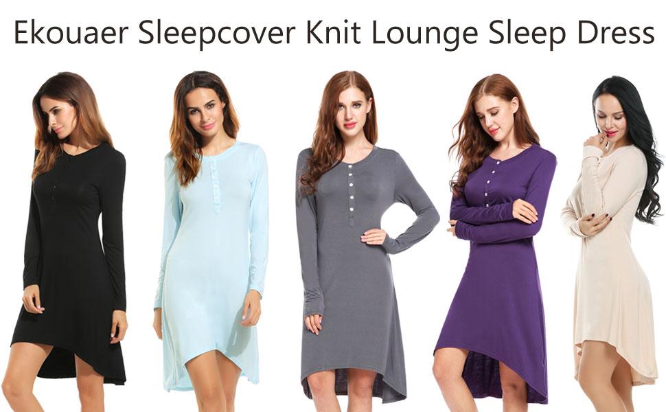 Ekouaer Nightgowns Womens Sleepwear Cotton Long Sleeve Nightshirt ...