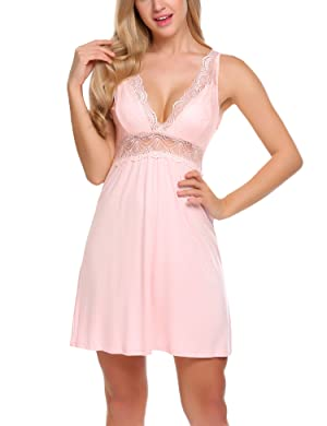 Details about Ekouaer Sexy Cotton Nightgown Short Lace Chemise Sleepwear  For Women 398bac912