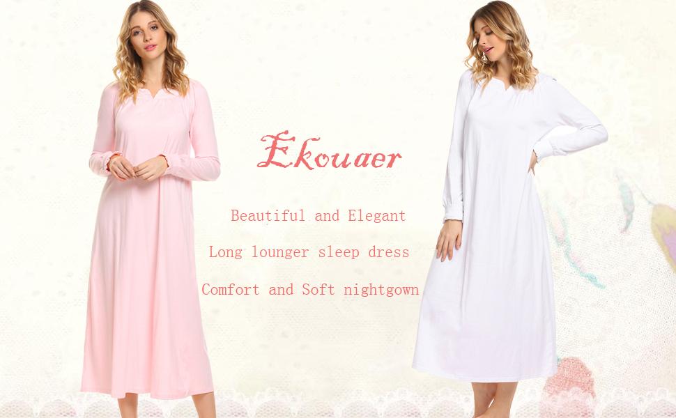 Ekouaer Women\'s Vintage Sleepwear Long Sleeve Ultra-Soft Lounger ...