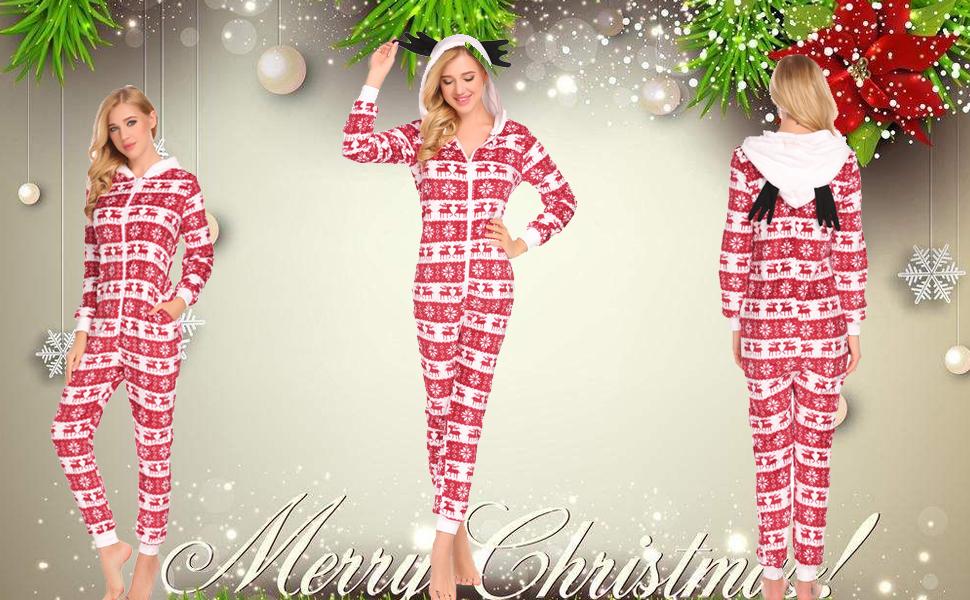 16ad166ce000 Ekouaer Adult Onesie Pajamas Women Christmas Hooded Plush Animal ...
