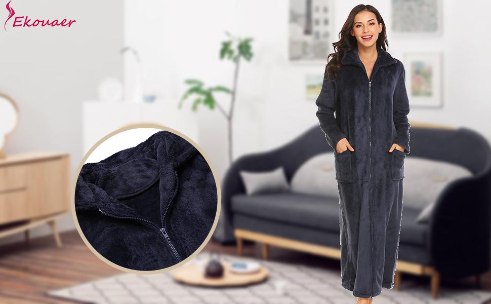 Ekouaer Women s Flannel Robe Zipper Front Robes Full Length Bathrobe(S-XXL) d97ba3b22