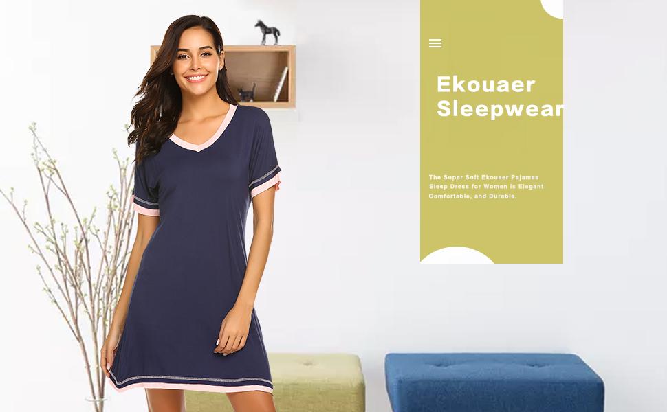 a7afb832 Ekouaer Women's Sleepwear Casual V Neck Nightshirt Short Sleeve Nightgown  S-XXL