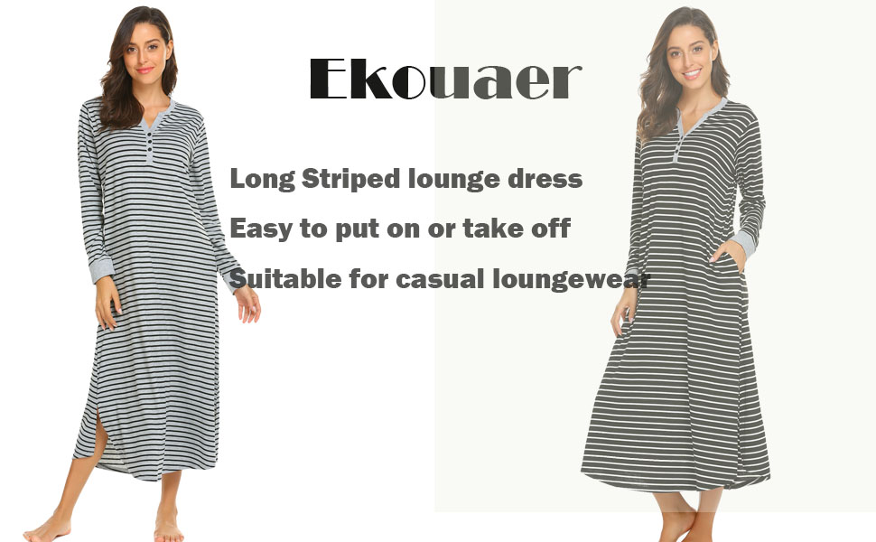Ekouaer Women s Striped Nightgown f22097e87
