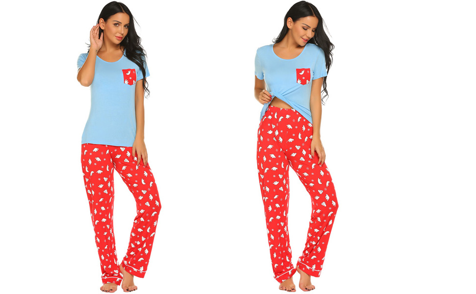 66368113f6 Ekouaer Women s Pjs Print Animal Pajama Set Dog Elegant Pants Sleepwear  Plus Size S-XXL