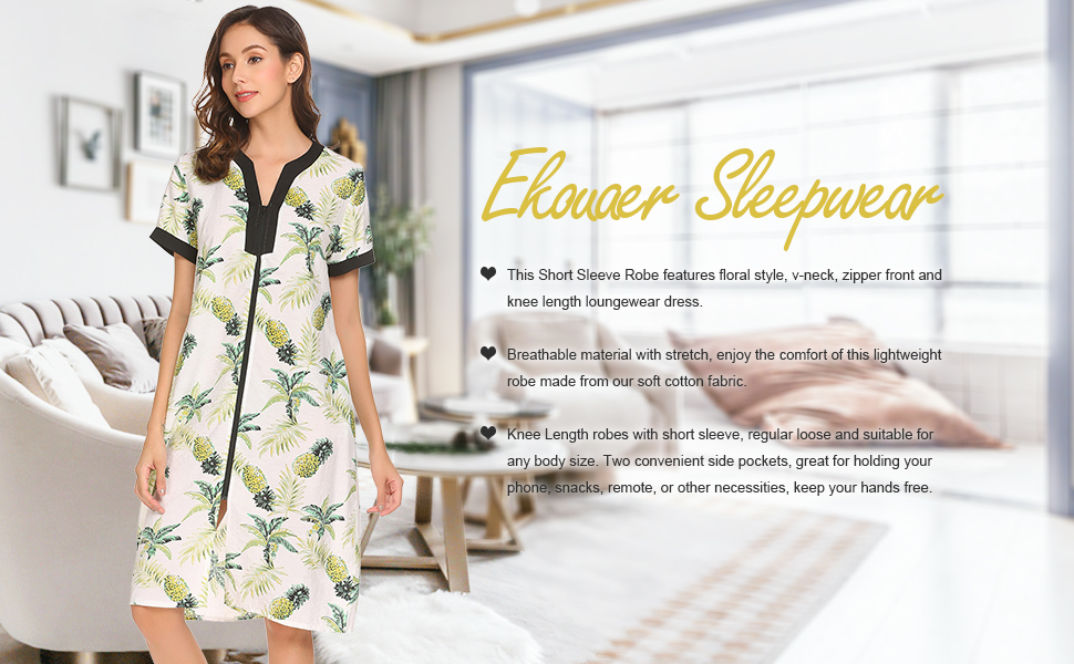 0be459b9e7 Ekouaer Robes for Women Zipper Front V-Neck Short Sleeve Floral ...