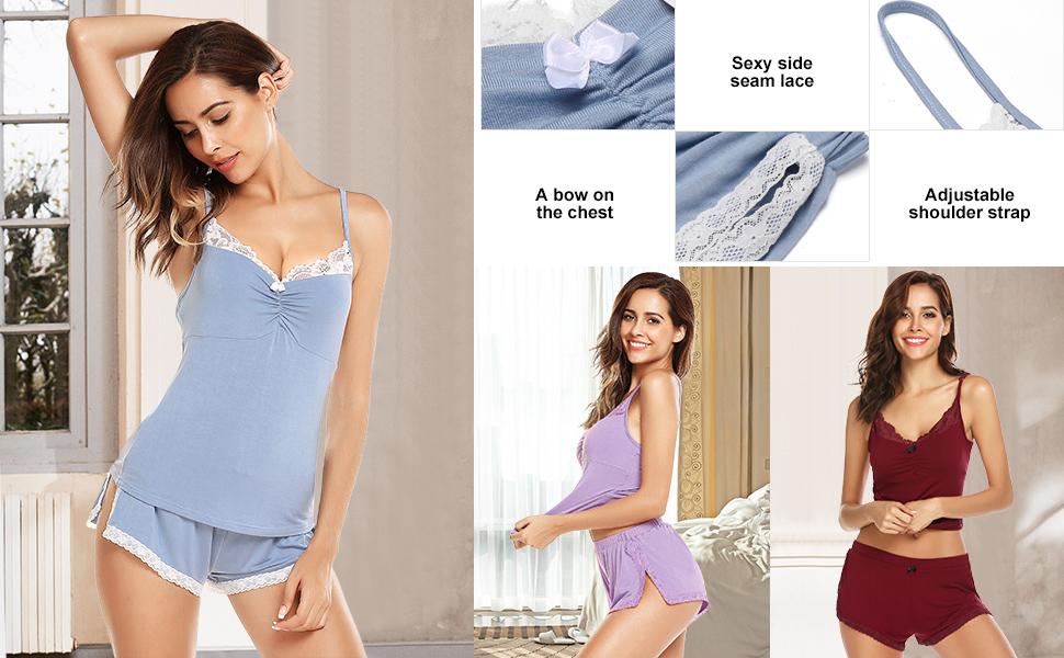 90cd615e792 Ekouaer Pajamas Set Womens Lace Knit Nightwear Lingerie Gown Sleep ...