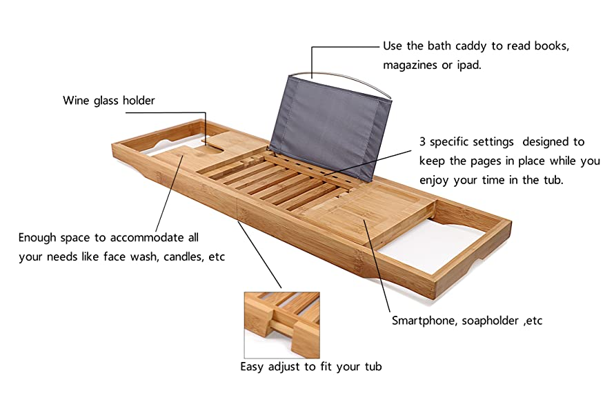 Amazon.com: DozyAnt Bathtub Caddy Bamboo Bathtub Tray, Made Of 100 ...