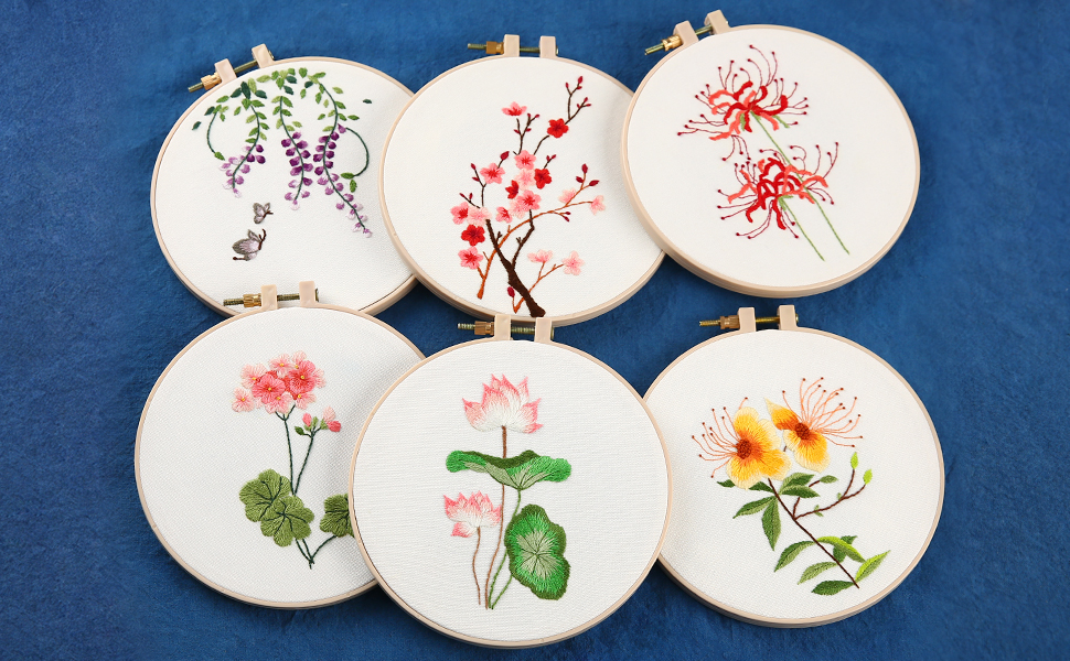 and Needles 6 inch Plastic Embroidery Hoop Handy Bouquet Series-Mixed Flowers Color Threads Cotton Fibric with Water Soluble Pattern Akacraft Unfinished Embroidery Starter Kit