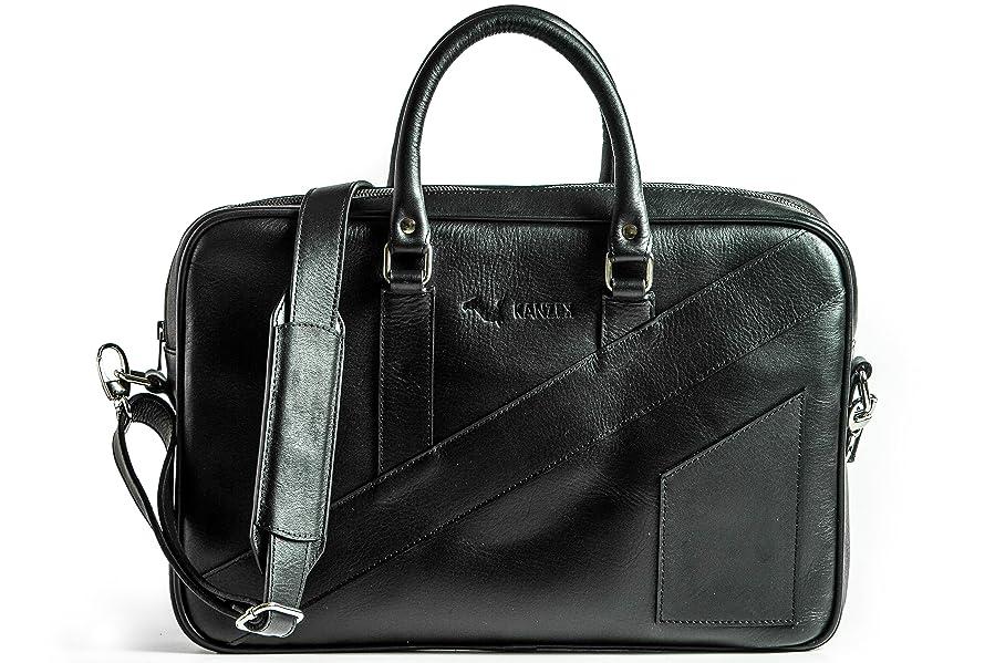 9bbcb1c329 KANZEK Luxury Leather Laptop Briefcase for 15.6