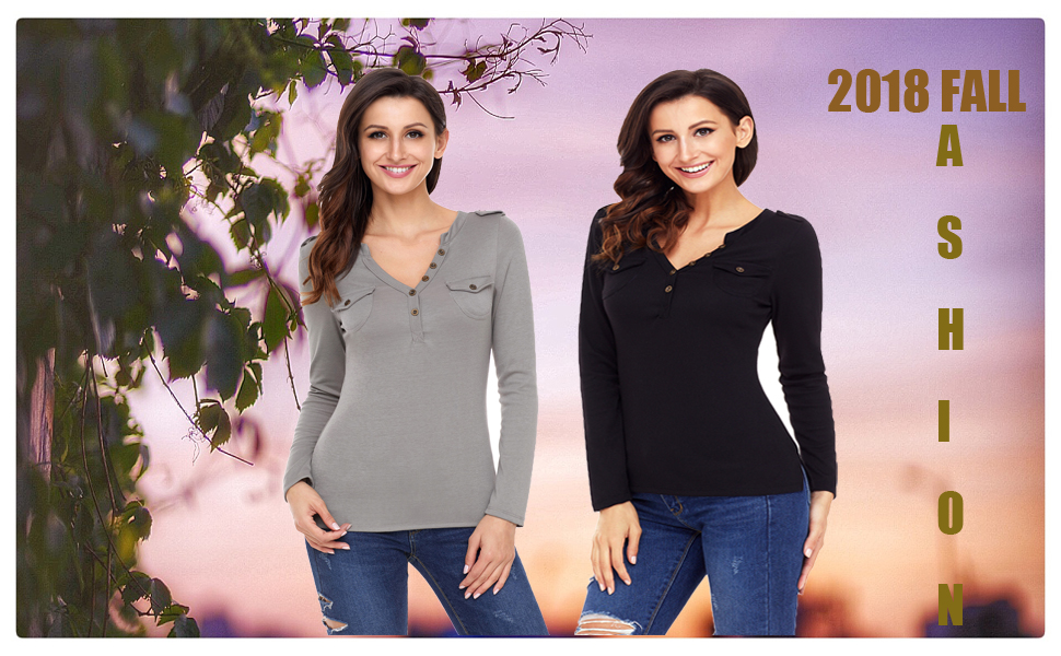 d041bec7b7b570 ZKESS Womens Casual Henley Shirts Button Long Sleeve V Neck Slim Blouse Tops  with Pockets