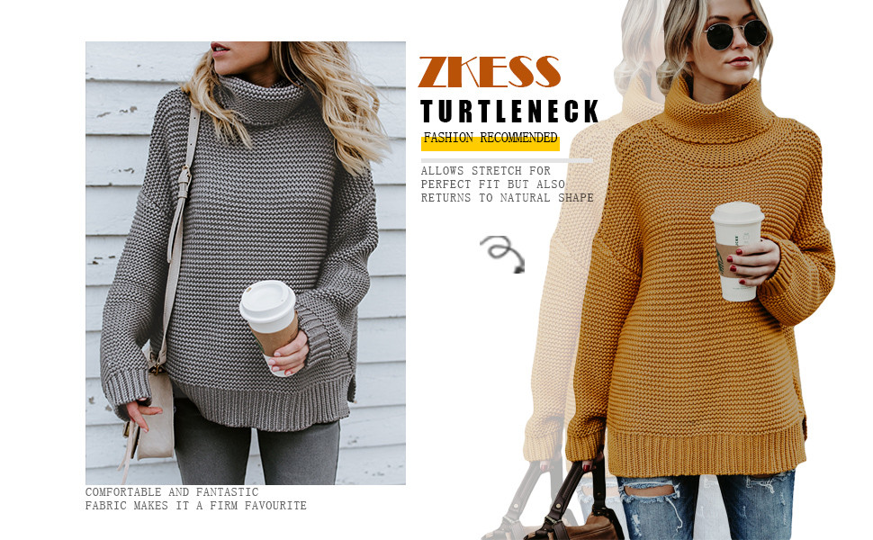 8136d6c38114 ZKESS Womens Casual Long Sleeve Turtleneck Knit Pullover Sweater at ...