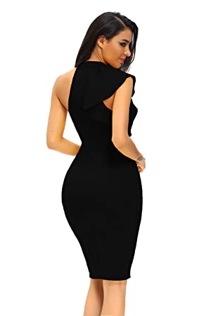 Amazon.com: ZKESS Women's One Shoulder Ruffle Sleeve Bodycon Party ...