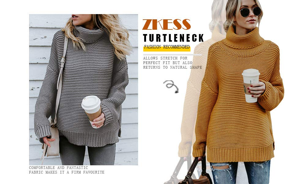cc0d5e9a621b67 ZKESS Womens Casual Long Sleeve Turtleneck Knit Pullover Sweater at ...
