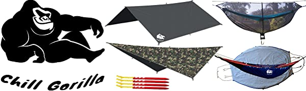 Chill Gorilla products including rain flys, bug nets hammocks, and tent stakes.