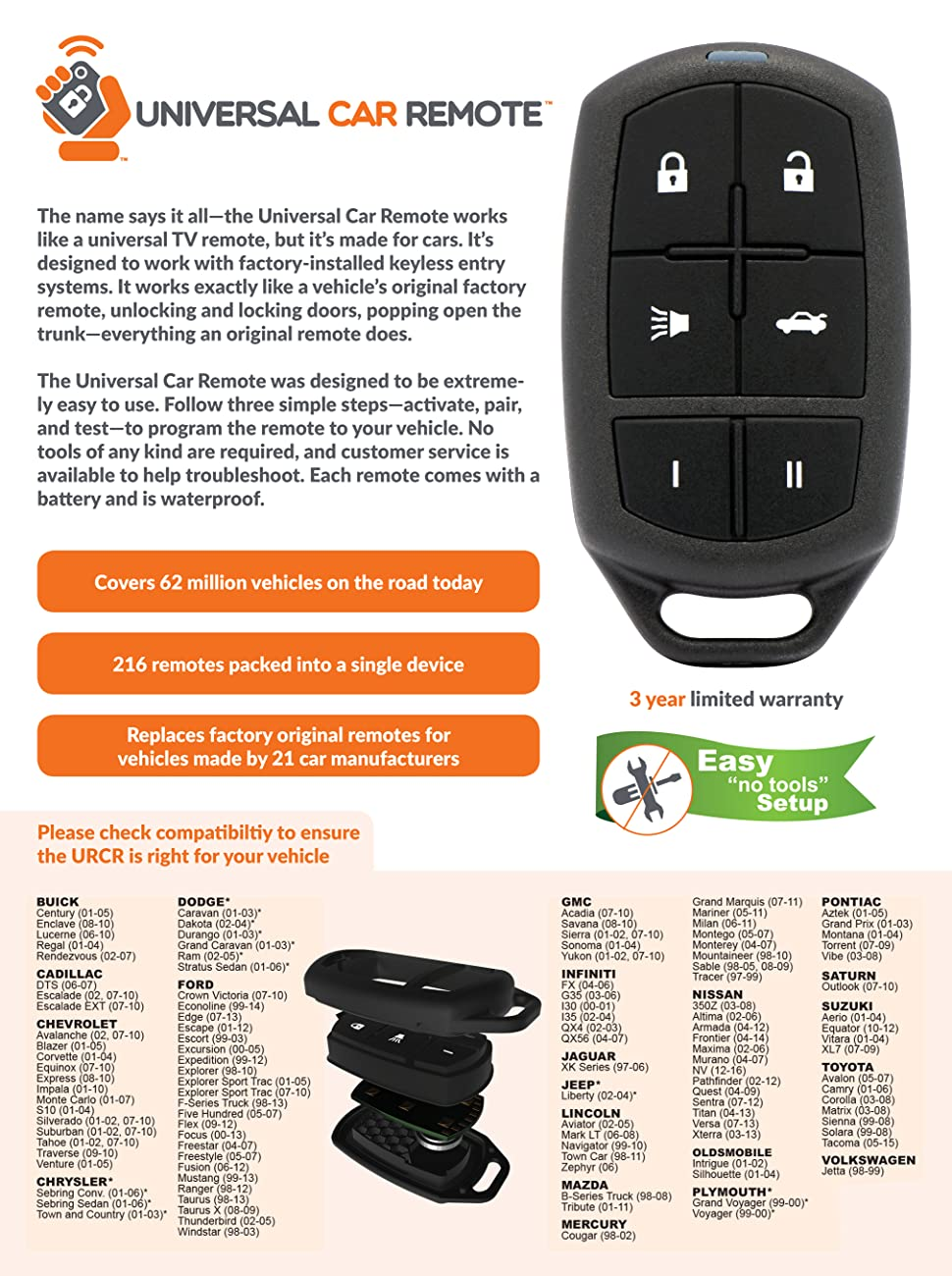 Replacement Keyless Entry Universal Car Remote Control Auto Mobile Starter Kit Product Description