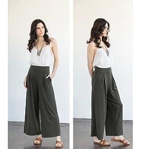 Para mujeres Cintura Alta Pierna Ancha PALAZZO Pantalones informales Pantalones Sueltos Culottes recortada
