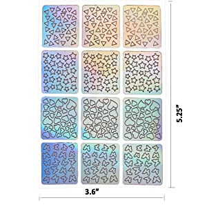 Amariver 288 Pieces Nail Vinyls Stencils Nails Stickers Set 24 Sheets 96 Designs Art Sticker Decals 3D DIY Decoration Tools For Women Girls
